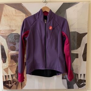 Castelli cycling biking zip up jacket in purple